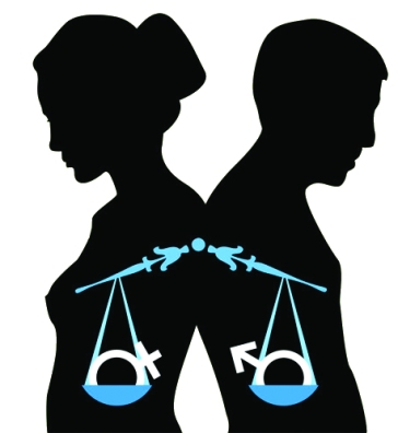 Outline of a man and a woman standing back to back with a broken scale holding the masculine and feminine sex symbols