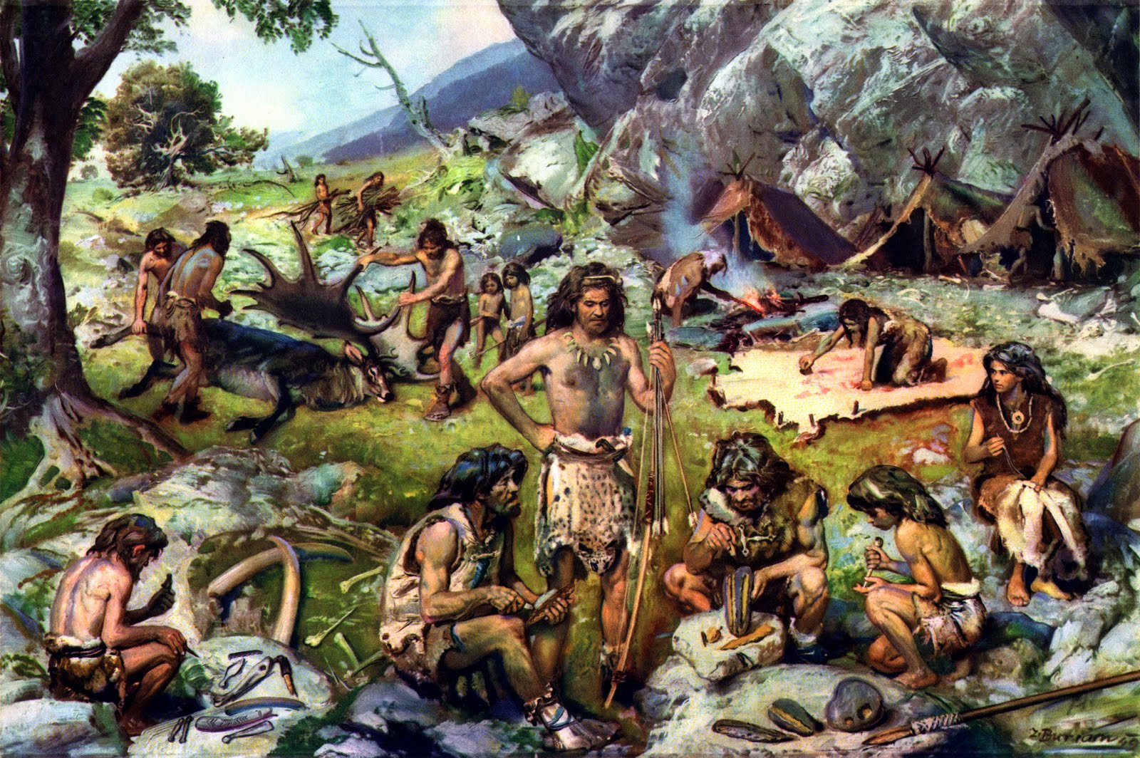 Painting of a group of primitive cave men sitting around their camp working at various tasks like skinning a deer and grinding plants