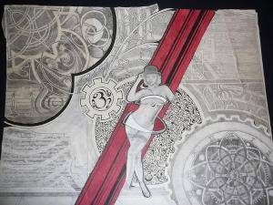 The same picture of Heather Kozar as above, but taken from a farther distance to show more of the squiggly lines, but at the expense of showing detail