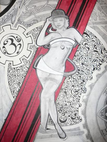 Complicated drawing of a lot of trippy, squiggly lines, an Om inside the outline of a gear and a drawing of Heather Kozar naked, with swirling lines covering her sex organs