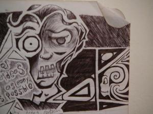 """A trippy and creepy self-portrait of myself with hard angles and dark shading. To the left of him are the words, """"Bounce your ideas off as many walls as possible."""""""