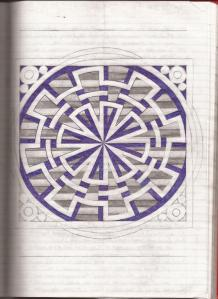 The outline of a gear with a circle and star inside it, woven together