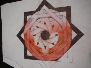 Eight pointed star made using only one line that overlaps and connects to itself. The star was red, but the paper it was drawn on got water damage, bleeding the color