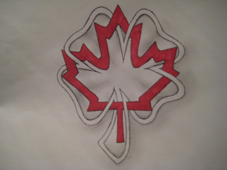 An outline of a four leaf clover woven around the outline of a Canadian maple leaf