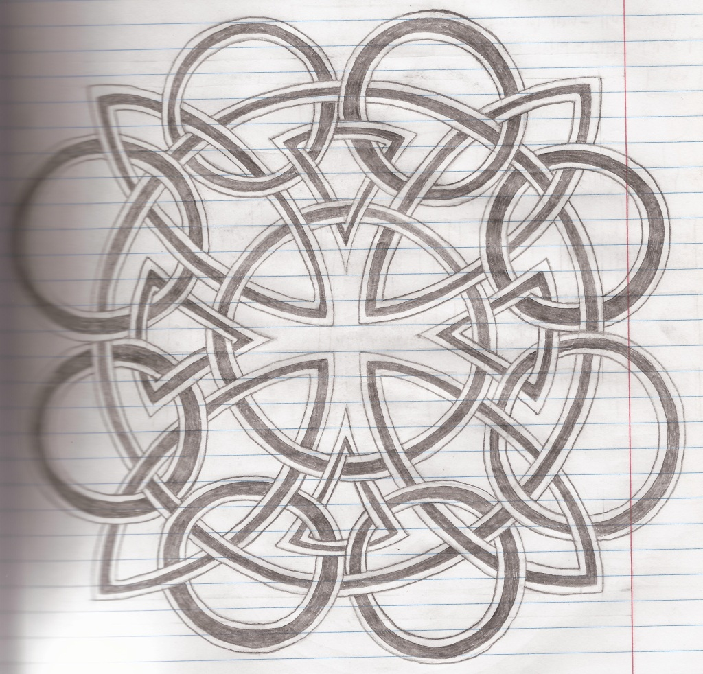An Iron Cross made from the negative space between two concentric circles and a ring of eight smaller circles and four chevrons