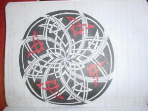 Complicated spiral of interweaving lines inside a circle with a black background