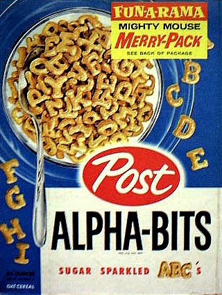 """Picture of a box of """"Alpha-Bits"""" cereal. On the box is a picture of letters made from compressed whole grain flour"""