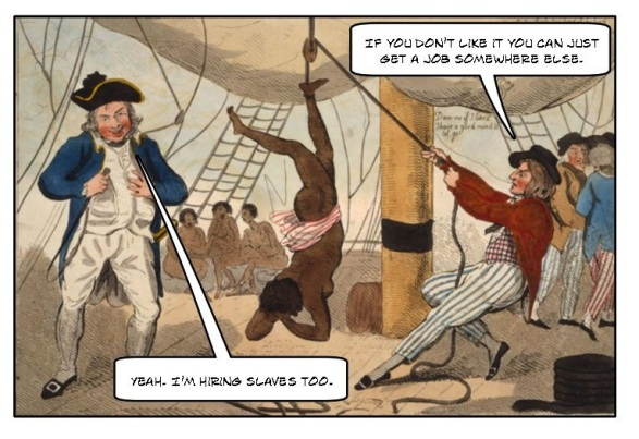 "Cartoon of a man stringing up a slave saying, ""If you don't like it you can just get a job somewhere else."" Another slave owner is standing by saying, ""Yeah. I'm hiring slaves too."""