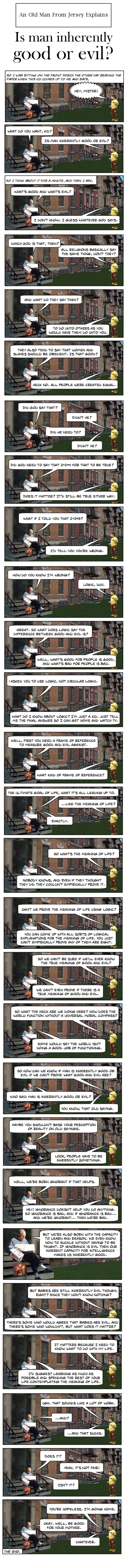 An old man sits on the steps to his dingy New Jersey apartment reading a newspaper. A naive but curious ten year old boy stands on the grass nearby about to ask a question.