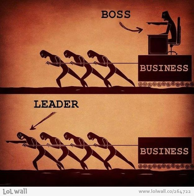 """Picture of a boss sitting on a box labeled """"business,"""" which is being pulled by three workers.... and a picture of a leader pulling the box labeled """"business"""" with his workers."""