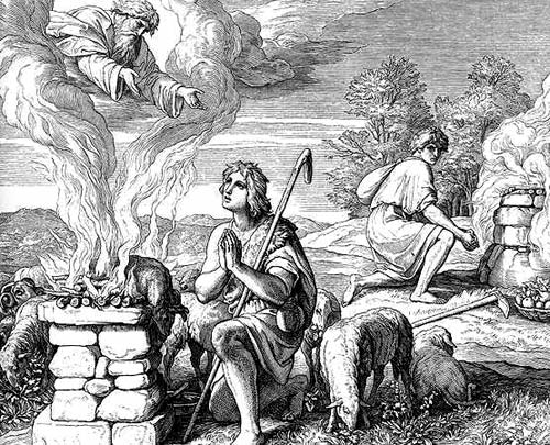 Etching of Able burning a sheep on a stone altar. God looks down at Able from the smoke of the animal while Cain looks on jealously.