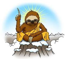 The Wise Sloth logo: A cartoon image of a sloth sitting on a mountain top. He is wearing a yellow robe. His head is bowed with his eyes shut, and beams of light shine from around his head. With his left arm, he is holding one finger in the air.