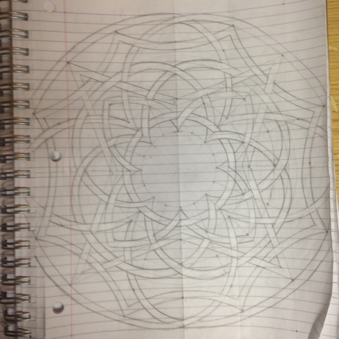Complicated Celtic knotwork Mandala with overlapping circles, arches and stars