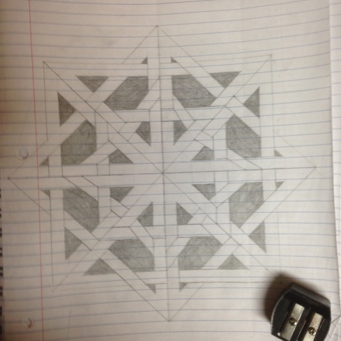 Two concentric squares with two more, rotated at a 90 degree angle and interlaced between them