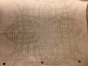Two concentric circles with over/under-lapping arches of ribbons woven between them and each other