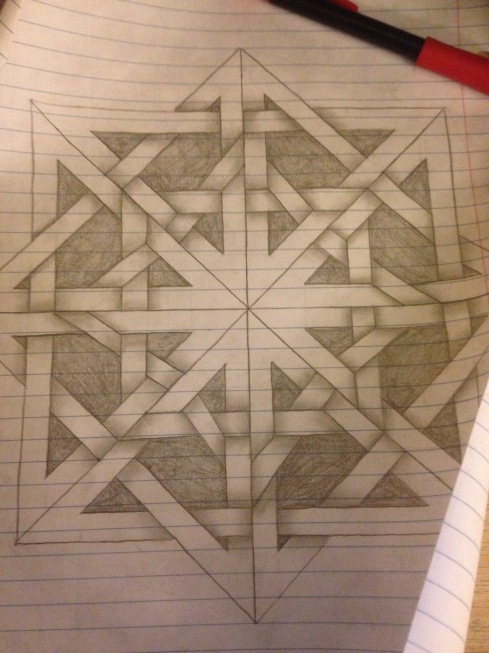 The same concentric square Celtic knot design as above, but with shading under the places where lines overlap