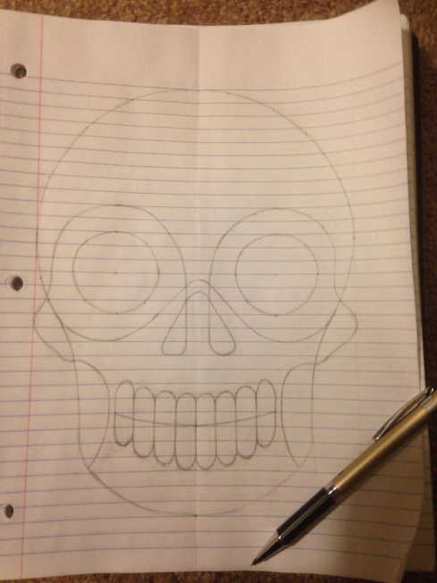 Very simple outline of a human skull with eye sockets, a nose socket and teeth