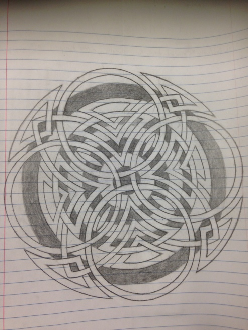 The same Celtic clover of circles with concentric circles inside it. The background has been shaded to look like a bullseye.
