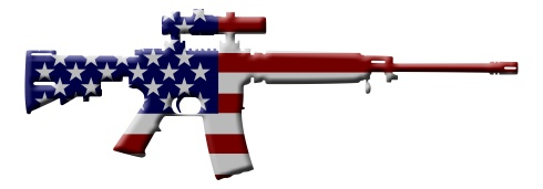 Picture of an assault rifle painted like the American flag