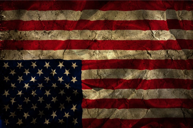 Image of an upside down American flag