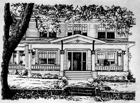 An architectural drawing of The Palmer House, with its two stories, wide, covered front porch and double doors
