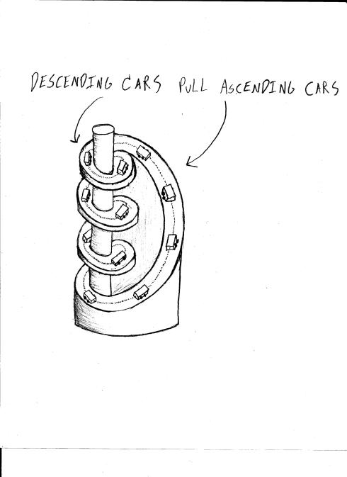 Design for a perpetual motion machine that has a train of rolling down a long, winding spiral, pulling its tail behind it.