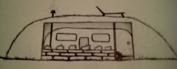 Drawing of an Airstream trailer in a hollow, man-made hobbit hill