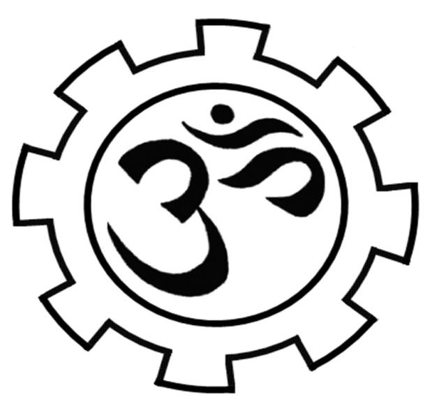 Drawing of a gear with an Om in the center