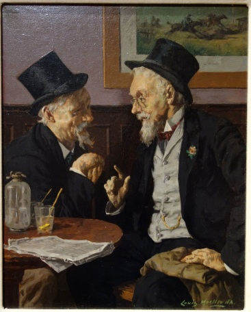 A painting of two old gentlemen wearing classy suits and top hats talking in a cafe over drinks