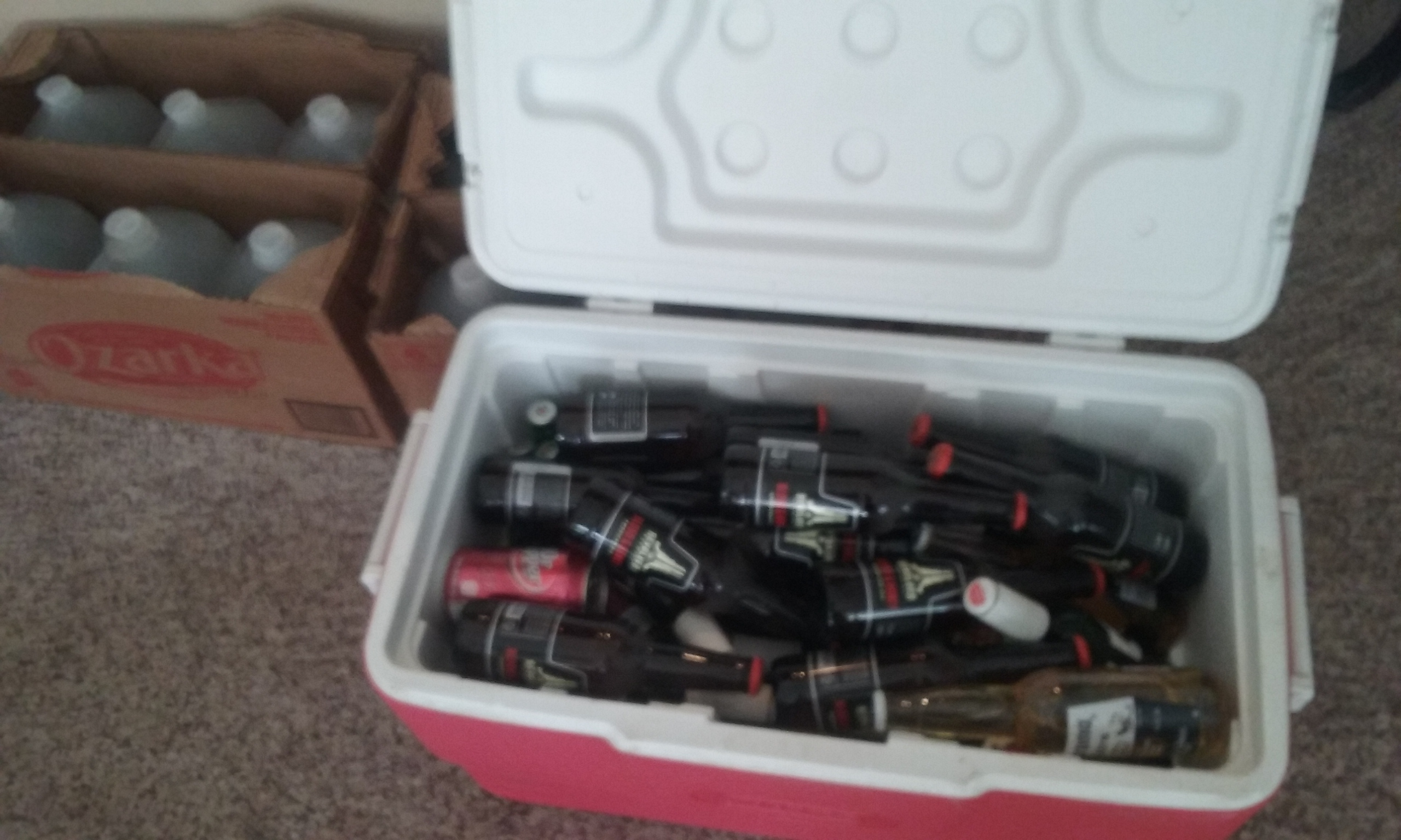 Photo of an ice chest full of random brands of beer bottles