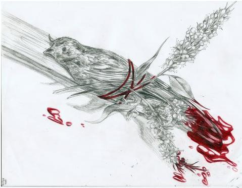 Picture of a dead, bloody bird and flowers tied to a piece of wood with a scarlet string